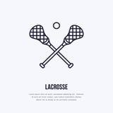 Ligne icône de vecteur de lacrosse Logo de boule et de bâtons, signe d'équipement Illustration de compétition sportive Photographie stock