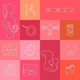 Ligne icône de vecteur de médecine et de grossesse Images libres de droits