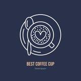 Ligne icône de vecteur de tasse de café Logo linéaire de café Décrivez le symbole de l'expresso, le cappuccino, americano pour le Photos libres de droits