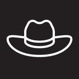 Ligne icône, signe blanc d'ensemble, illustration de Hat de cowboy du ` s d'hommes de vecteur Photo stock