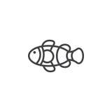 Ligne icône, signe de Fish de clown de vecteur d'ensemble Image libre de droits