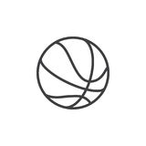 Ligne icône, signe de vecteur d'ensemble, pictogramme linéaire de boule de basket-ball de style d'isolement sur le blanc Photos libres de droits