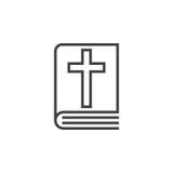 Ligne icône, signe de vecteur d'ensemble, pictogramme linéaire de livre de Sainte Bible illustration stock