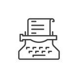 Ligne icône, signe de vecteur d'ensemble, pictogramme linéaire de machine à écrire de style d'isolement sur le blanc Symbole de r Photo libre de droits