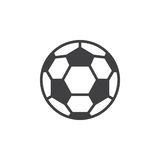 Ligne icône, signe rempli de vecteur d'ensemble, pictogramme linéaire de ballon de football de style d'isolement sur le blanc Photographie stock libre de droits