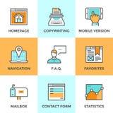 Ligne icônes d'éléments de site Web réglées illustration libre de droits