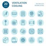 Ligne icônes d'équipement de ventilation Climatisation, appareils de refroidissement, ventilateur d'extraction Ménage et ventilat Image libre de droits