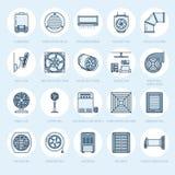 Ligne icônes d'équipement de ventilation Climatisation, appareils de refroidissement, ventilateur d'extraction Ménage et ventilat Photos stock