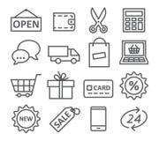 Ligne icônes d'achats Photos stock