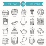 Ligne icônes d'aliments de préparation rapide Photographie stock
