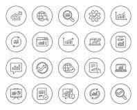 Ligne icônes d'analyse Diagrammes, rapports et graphiques illustration stock
