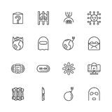 ligne icônes d'Anti-terrorisme Illustration de vecteur Images libres de droits