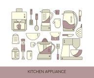 Ligne icônes d'appareils de cuisine réglées Eq différent de ménage de vecteur Image libre de droits