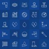 Ligne icônes d'approvisionnement en eau Image libre de droits