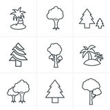Ligne icônes d'arbre de style d'icônes réglées Photo stock