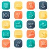 Ligne icônes d'hôtel réglées Glyph d'hôtel boutonne le vecteur d'ombre d'illustration couleur plate Vecteur Images libres de droits