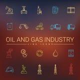 Ligne icônes d'huile et d'industrie du gaz Image libre de droits