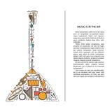 Ligne icônes d'instrument de musique dans la forme de balalaïka Élément musical de brochure d'art Carte de voeux décorative de ve Photographie stock libre de droits