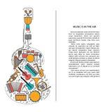 Ligne icônes d'instrument de musique dans la forme de guitare Élément musical de brochure d'art Carte de voeux ou invitation déco Photos libres de droits