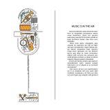 Ligne icônes d'instrument de musique dans la forme de microphone Élément musical de brochure d'art Carte de voeux décorative de v Photo stock