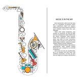 Ligne icônes d'instrument de musique dans la forme de saxophone Élément musical de brochure d'art Carte de voeux décorative de ve Photo stock