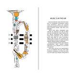Ligne icônes d'instrument de musique dans la forme de trompette Élément musical de brochure d'art Carte de voeux décorative de ve Photo libre de droits