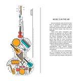 Ligne icônes d'instrument de musique dans la forme de violon Élément musical de brochure d'art Carte de voeux ou invitation décor Images libres de droits