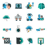 Ligne icônes d'intelligence artificielle réglées illustration stock