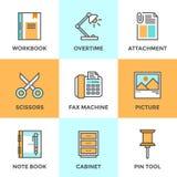 Ligne icônes d'objets de bureau réglées Image stock