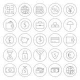 Ligne icônes d'opérations bancaires de finances d'argent de cercle réglées Photo stock