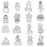 Ligne icônes de cactus réglées illustration de vecteur
