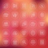 Ligne icônes de cercle d'opérations bancaires de finances d'argent réglées Photo stock