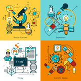 Ligne icônes de concept de la Science réglées Images stock