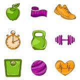 Ligne icônes de croquis de forme physique Images stock