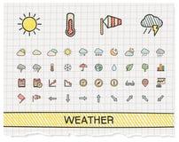 Ligne icônes de dessin de main de temps illustration stock