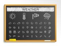Ligne icônes de dessin de main de temps illustration de signe de croquis de craie sur le tableau noir illustration libre de droits