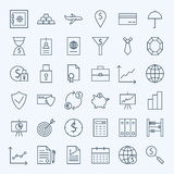 Ligne icônes de finances et d'opérations bancaires d'argent réglées Images stock