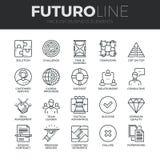 Ligne icônes de Futuro d'éléments d'affaires réglées illustration stock