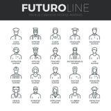 Ligne icônes de Futuro d'avatars de personnes réglées Image stock