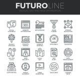 Ligne icônes de Futuro d'optimisation de moteur de recherche réglées illustration de vecteur