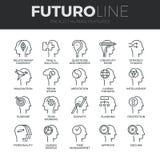 Ligne icônes de Futuro de caractéristiques d'humain réglées illustration libre de droits