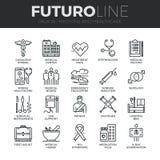 Ligne icônes de Futuro de médecine et de soins de santé réglées Photo libre de droits