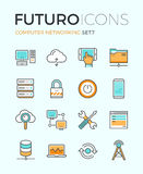 Ligne icônes de futuro de mise en réseau d'ordinateur Images stock