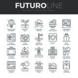 Ligne icônes de Futuro de tourisme et de voyage réglées illustration stock