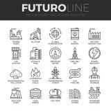 Ligne icônes de Futuro lourde et d'industrie énergétique réglées Images stock