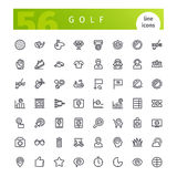 Ligne icônes de golf réglées Images stock