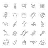 Ligne icônes de grossesse, de gynécologie, d'accouchement et de maternité réglées Images stock