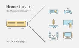 Ligne icônes de home cinéma Bannière de technologie de Chambre illustration libre de droits