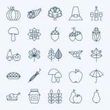 Ligne icônes de jour de thanksgiving de vacances réglées Photographie stock