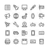 Ligne icônes 2 de la science et technologie de vecteur illustration de vecteur
